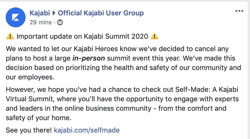 Kajabi Summit 2020 Cancelled